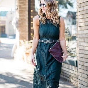 Army Green mesh eyelet midi sleeveless dress